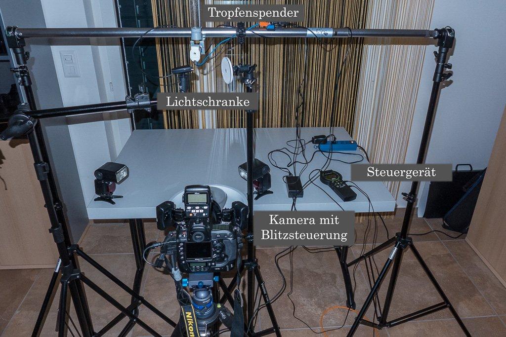 Aufbau für die Tropfenfotografie