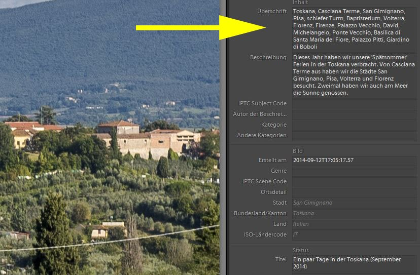 'Keywords' in Lightroom eintragen