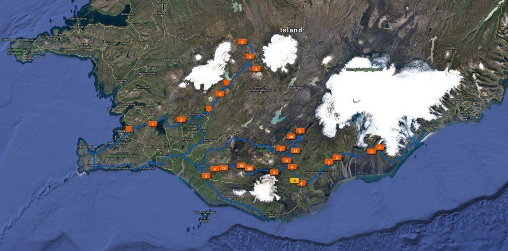 Island Karte mit Tracklog