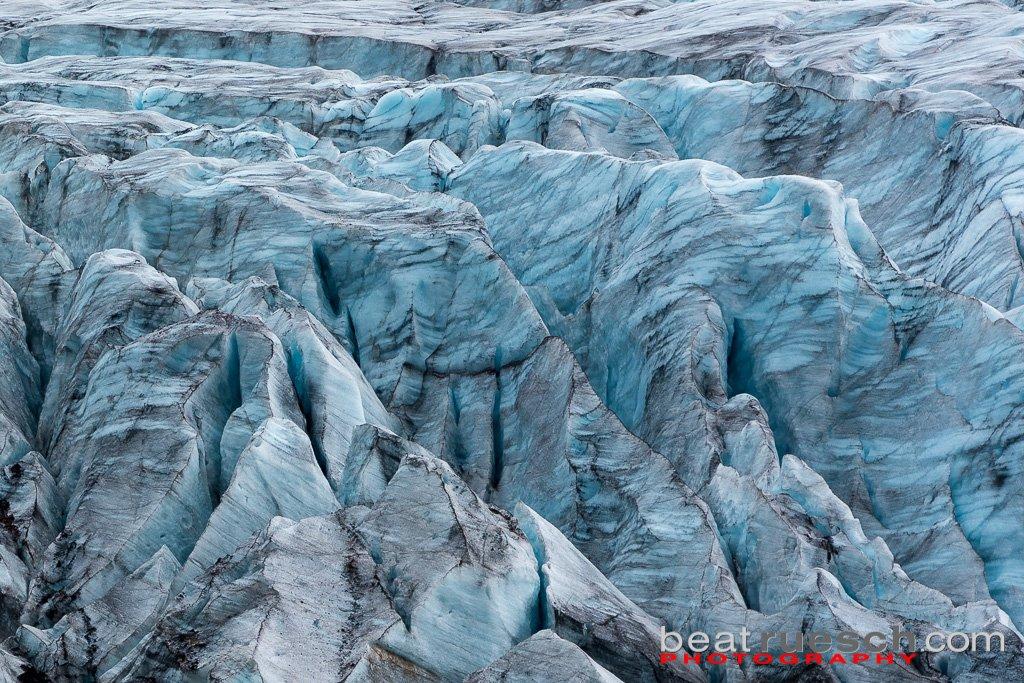 Struktur des Svínafellsjökull Gletschers