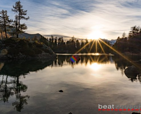 Sonnenuntergang am Lago Saoseo