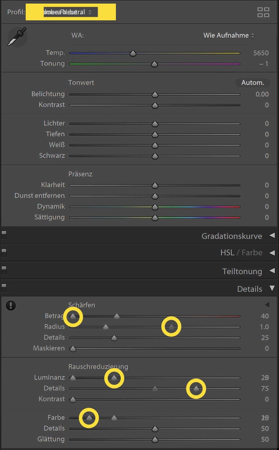 Lightroom Entwicklermodul - D850 und Z7 (gelbe Markierung)
