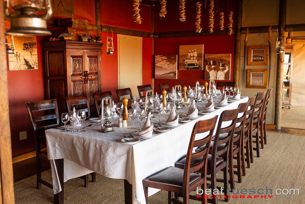 'Speisesaal' der Wolwedans Dune Lodge
