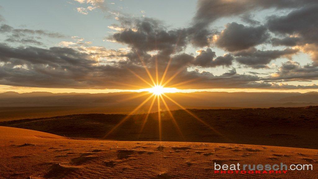 Sonnenaufgang in den Dünen bei Wolwedans