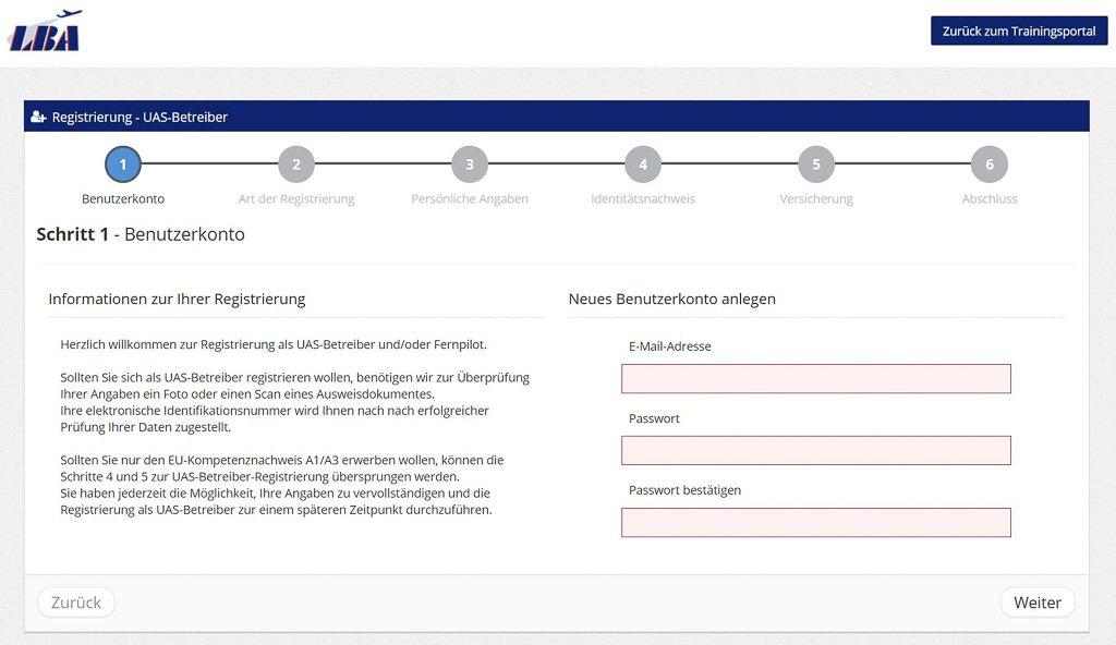 Registrierung UAS-Betreiber beim LBA