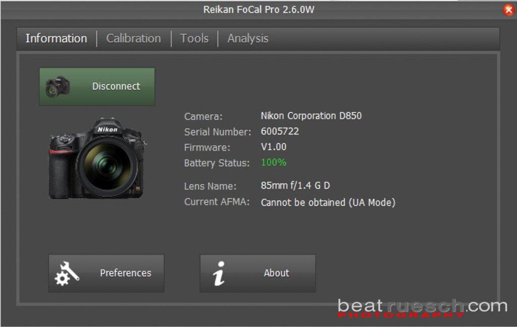 FoCal Pro 2.6 - Kamera über USB verbunden